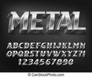 font., alphabet, 3d, shadow., lettres, effet, métal, nombres, chrome