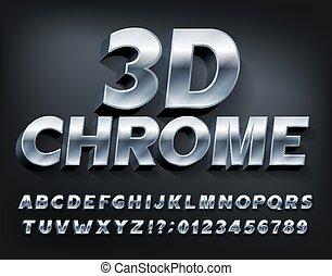 font., alphabet, 3d, shadow., métallique, lettres, nombres, chrome