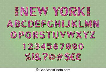 Font. Alphabet. Script. Typeface. Label. Modern New York...