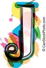 font, -, artistico, lettera, j