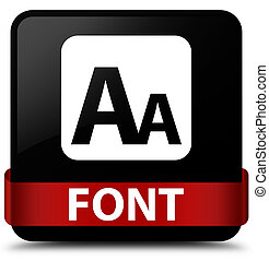 Font black square button red ribbon in middle