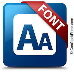 Font blue square button red ribbon in corner