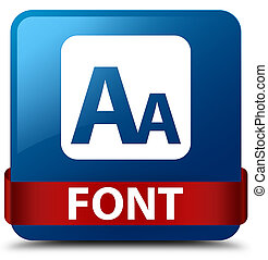 Font blue square button red ribbon in middle