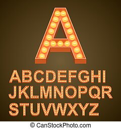 Font bulbs art sign abc. Vector illustration