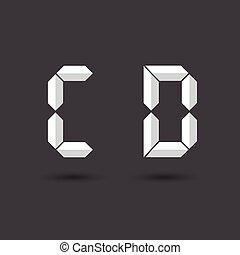 font C ,D vector Digital Paper style on Dark background for you design,Futuristic font, Cosmic, Vector alphabet set, Elegant light font , typeface, typography, typewriter.