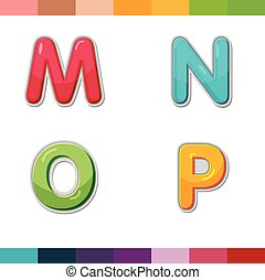 Font Cute Design Cartoon Style Vector Set04