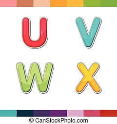 Font Cute Design Cartoon Style Vector Set06