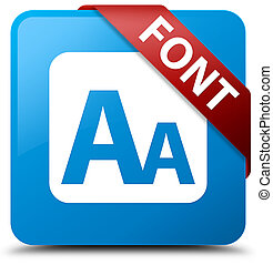 Font cyan blue square button red ribbon in corner