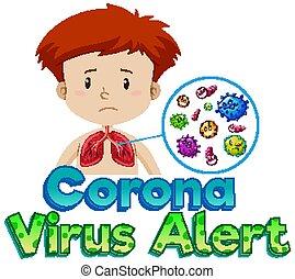 Font design for coronavirus alert with sick boy