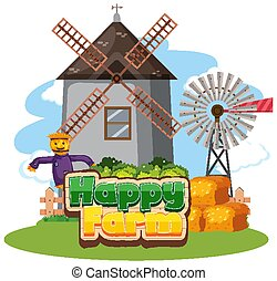 Font design for happy farm with barn and windmill