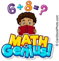 Font design for math genius with boy doing homework