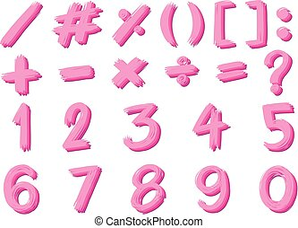 Font design for numbers and signs in pink color