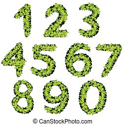 Font design for numbers with grass texture