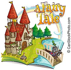 Font design for word a fairy tale with big castle and knight in background