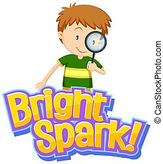 Font design for word bright spark with cute boy