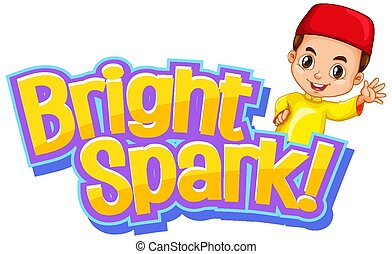 Font design for word bright spark with muslim boy
