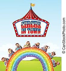 Font design for word circus in town with monkeys on the ride over the rainbow