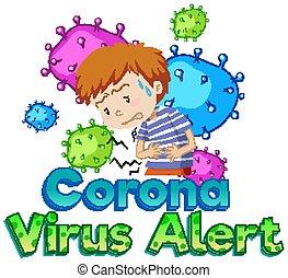 Font design for word coronavirus alert with sick boy and virus