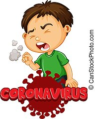 Font design for word coronavirus with boy coughing