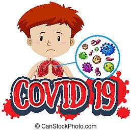 Font design for word covid-19 with boy and bad lungs