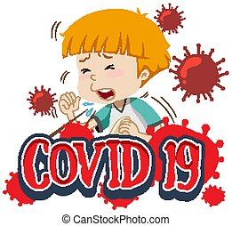 Font design for word covid-19 with boy coughing