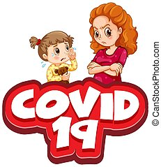 Font design for word covid 19 with kid crying