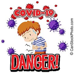 Font design for word covid-19 with sick boy and virus cell