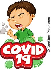 Font design for word covid 19 with sick boy coughing