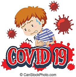 Font design for word covid-19 with sick boy on white background