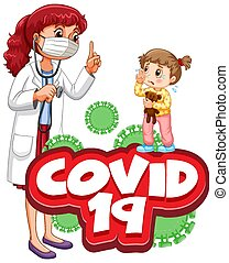 Font design for word covid 19 with sick girl and doctor