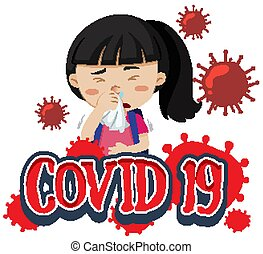 Font design for word covid-19 with sick girl