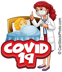 Font design for word covid 19 with sick girl in bed