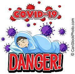 Font design for word danger with covid-19 patient in bed