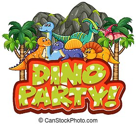 Font design for word dino party with many dinosaurs in forest