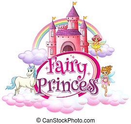 Font design for word fairy princess with fairies flying in sky illustration