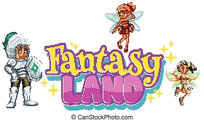 Font design for word fantasy with fairy and knight