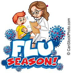 Font design for word flu season with doctor and little boy
