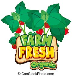 Font design for word fresh farm with red tomatoes