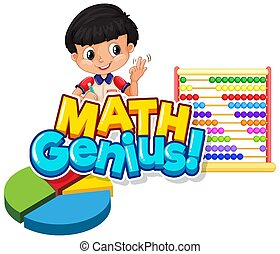 Font design for word math genius with cute boy and abacus