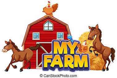 Font design for word my farm with many animals