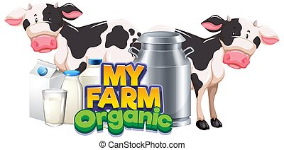 Font design for word my farm with two cows and fresh milk