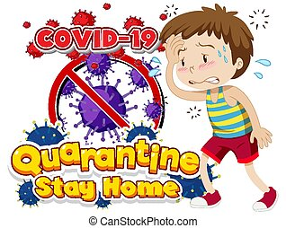 Font design for word quarantine covid-19 with sick boy