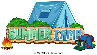 Font design for word summer camp with blue tent in background