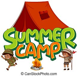 Font design for word summer camp with kids by the tent