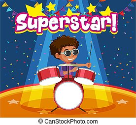 Font design for word superstar with boy playing drumset illustration