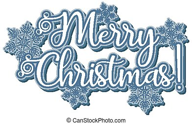 Font design template for merry christmas with snowflakes