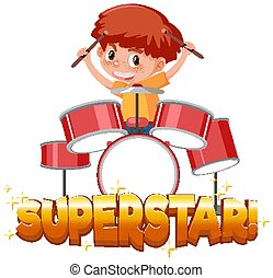 Font design template for word superstar with boy playing drums