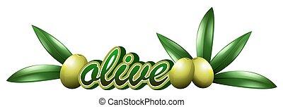 Font design with fresh olives