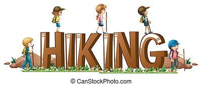 Font design with word hinking illustration