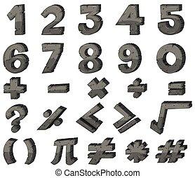 font, disegno, numeri, segni